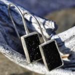 Opus 9  I  Ohrhänger aus Achat kristallisiert in Silber gefasst, ca. 18mm x 10mm, 90,- €