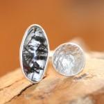 reprise 7   Silberring teilweise retikuliert, mit Turmalinquarz, Größe 61,    122,- €